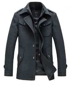 395849ef914 Mens Winter Business Single-breasted Trench Coat Turn-down Collar Casual  Suit Overcoat