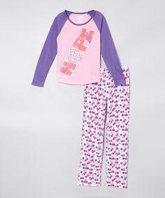 Look what I found on #zulily! Purple 'Hope' Microfleece Pajama Set - Girls by Sleep On It #zulilyfinds