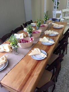Rentalex farm table with burlap table runner and our vintage plates! Stop in today to see it in the showroom!
