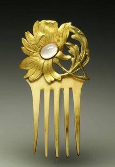 Art Nouveau Opal, Ivory & Gilt Bronze Hair Comb