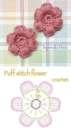 59 Ideas crochet stitches diagram charts ganchillo for 2019 Crochet Stitches Free, Crochet Motifs, Crochet Diagram, Freeform Crochet, Crochet Dishcloths, Crochet Puff Flower, Crochet Flower Patterns, Crochet Flowers, Knitting Patterns