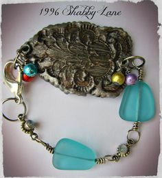 Sterling Silver Beach Glass and Labradorite bracelet with a my handmade polymer clay Fluer de Lis