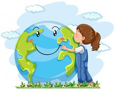 A girl hugging the earyh Free Vector World Environment Day Posters, Save Environment, Environment Concept Art, Earth Day Drawing, Earth Drawings, Environmental Art, Save The Planet, Preschool Crafts, Art For Kids
