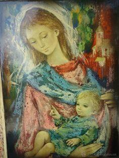 Bello cuadro de la Virgen María y el niño, esmaltado en azulejo ( sold)