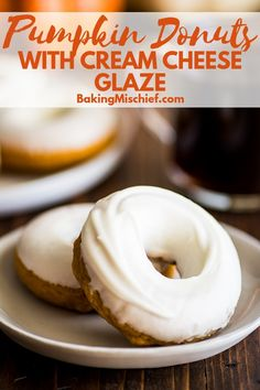 Soft, moist, spicy, and EASY baked pumpkin donuts with a decadent cream cheese glaze. These donuts are the perfect indulgent fall morning treat. Donut Glaze Recipes, Pumpkin Donut Recipe Baked, Baked Pumpkin, Pumpkin Cookies, Pumpkin Dessert, Pumpkin Recipes, Cream Cheese Glaze, Cream Cheese Cookies, Fall Dessert Recipes