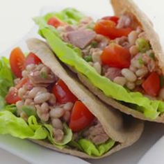 Tuscan-Style Tuna Salad  this version is packed with protein! And would be delicious served on toasted pitas.