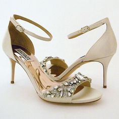 Badgley Mischka Wedding Shoes. Pretty, feminine, sexy bridal sandals, sparkle & beadwork at the toe.  Ankle strap adds a vintage vibe.