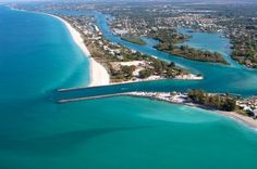 South end of Casey Key with Venice Inlet running through the North and South Jetties...