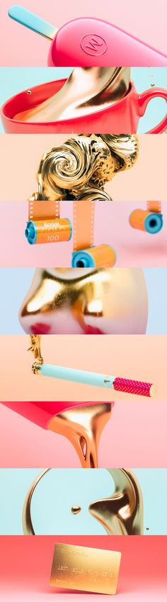 """Slovenian 3D artist Crtomir Just decided to make a fun 3D series that takes the popular """"gold"""" naming for a spin and tries to depict these products literally or how they would look like, if they were truly made out of gold."""