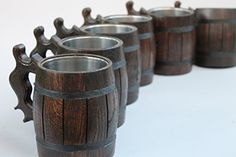 Set of 6 Handmade Wooden Beer Mug of Wood Eco Friendly Great Gift Ideas >>> Want additional info? Click on the image.