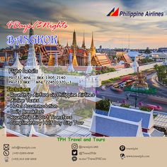 4D3N BANGKOK via PHILIPPINE AIRLINES minimum of 2 persons to travel  For more inquiries please call: Landline: (+63 2) 282-6848  Phone: (+63) 918 238 9506 or E-mail us: info@travelph.com #Bangkok #Thailand #TravelPH #TravelWithNoWorries Bangkok Thailand, Tours, Phone, City, Travel, Telephone, Viajes, Cities, Destinations