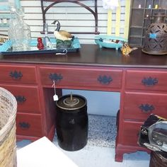A re-do on the Top of this Desk! Expresso Stain by Dixie Bell! L O V E!  Live, Simply! All about her Dixie!