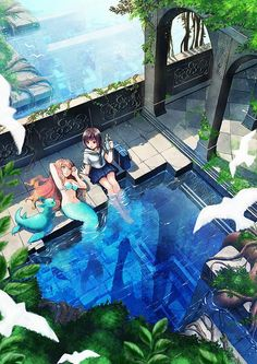 "#TOMSpecialCreator soujirou drew this art titled ""Secret Friends."" Do you believe in mermaids? The deep sea is still mostly unexplored! We want to go to this beautiful place. Visit soujirou's TOM portfolio here: http://otakumode.com/fb/213"