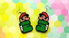 Mario Boot Earrings - Goomba's Shoe, Kuribo's Shoe, Nintendo Earrings, Hook or Clip-On, Pixel Jewelry, Mini Perler Beads, Mini Hama Beads