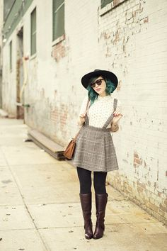 Plaid Suspender Skirt, Polka Dot Top, & Burgundy Boots