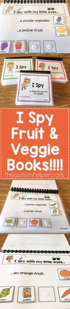 Our speech therapy theme of the month is fruits & veggies here at The Autism Helper. Sarah the Speech Helper created amazing adapted books to pair with her activities this month. Check them out at theautismhelper.com #theautismhelper  Pinned by BLM