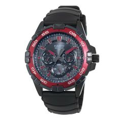 Casio Men's MTD1069B-1A2 Round Analog Black and Red Dial and Black Resin Strap Watch Casio. $84.00. Black analog dial with day/date/ 24 hour display. Water-resistant to 100 M (330 feet). Screw lock crown. Anti-reverse rotating bezel. Stainless steel ip case with orange accented bezel