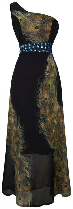 Angel-fashions Women's One Shoulder Rhinestone Printing Peacock Long dress at Amazon Women's Clothing store