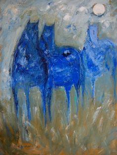 """Hazy Blue Horses""  painting by Karen Bezuidenhout (sold)"