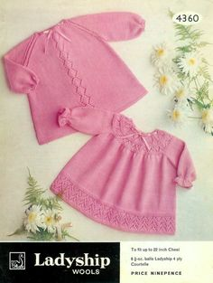 Baby Dresses 2 lovely styles in 4 ply for up to 2 years old - Ladyship 4360 -PDF of Vintage Knitting PatternsVintage Baby Clothes Knitting Patterns from The Vintage Knitting sweet baby dresses or angel topsPretty baby dress with smock effect yo Baby Knitting Patterns, Baby Patterns, Dress Patterns, Vintage Baby Dresses, Vintage Baby Clothes, Smock Dress, Knit Dress, Style Baby, Girls Smocked Dresses