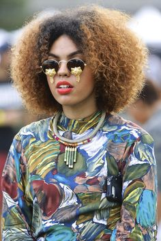 afropunk, abstract print, afro hair, accessories, golden sunglasses, black girl, streetstyle, street style