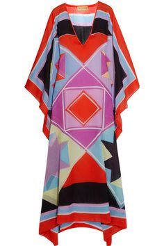 Emilio Pucci's kaleidoscopic kaftan is cut from airy cotton-voile printed with the label's geometric 'Monreale' tile pattern. Made in Italy, it has a breezy, loose silhouette that is accentuated by the handkerchief hem. Wear yours over the coordinating bikini.