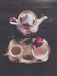 Tea served with a rose