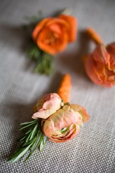 this wedding is all about the orange right down to the boutonnieres  Photography by http://catherinehall.net, Floral Design by ericarosedesign.com