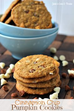 Cinnamon Chip Pumpkin Cookies ~ Soft, Chewy Pumpkin Cookies Stuffed Full of Cinnamon and White Chocolate Chips! I have never seen cinnamon chips before but this sounds delicious. Yummy Cookies, Yummy Treats, Sweet Treats, Cookies Soft, Sugar Cookies, Pumpkin Recipes, Cookie Recipes, Dessert Recipes, Fall Recipes