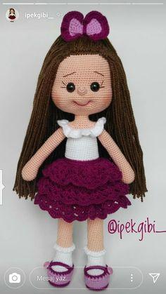 Crochet Dolls JULIA Crochet Toy / Amigurumi Doll - Crochet Doll for Daughter, Gift for Children, Gift for Baby, Gi - Salvabrani Crochet Doll Pattern, Crochet Patterns Amigurumi, Amigurumi Doll, Crochet Dolls, Cute Crochet, Crochet Baby, Crochet Geek, Doll Face, Stuffed Toys Patterns