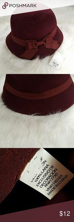 Burgandy felt bow hat NWT Burgandy felt bow hat NWT Accessories Hats