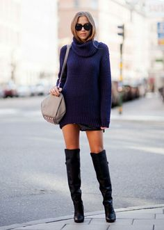 blue turtleneck sweater dress street style