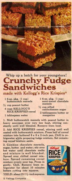Crunchy Fudge Sandwiches Clipping-butterscotch, fudge and peanut butter