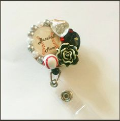 Check out this item in my Etsy shop https://www.etsy.com/listing/225935928/decorated-badge-reel-baseball-mom-sports