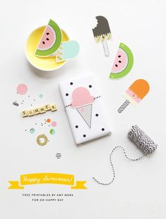 kit imprimible para fiesta infantil de helados