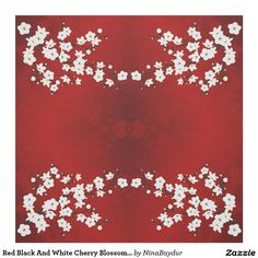 #Red Black And White Cherry Blossom Pattern Fabric #cherryblossom #asiafloral #japanese