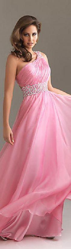 Sexy Chiffon Long Sleeveless A-Line One-Shoulder Prom Dresses jijidresses41523ikyth #pink #promdress