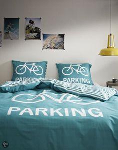 COVERS & CO Dekbedovertrekset Green Parking - val in slaap onder een fiets!