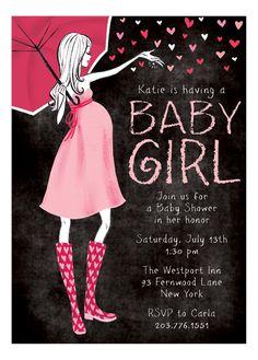 Stylish #Baby Shower Chalkboard Girl Invitation  available at Polka Dot Design