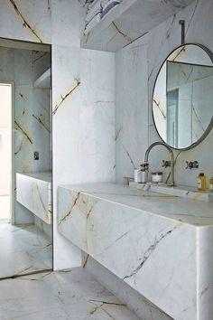 Marble bath.  So sleek! #marble #bathroom #home #décor #kellywearstler #interior #design