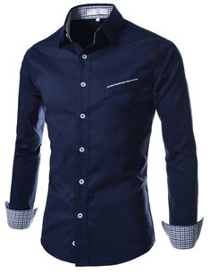 TheLees (AL320) Mens Casual Slim fit Check Patched Stretchy Long Sleeve Shirts Navy Large(US Small)