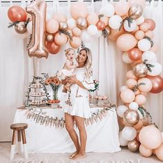 Birthday Decorations Discover Rose Gold Balloon Garland Kit // Rose Gold Balloon Arch / First Birthday Balloon Arch /Wedding Backdrop/Party Decoration/ Blush/ Rose Gold First Birthday Balloons, 1st Birthday Party For Girls, Baby Birthday Decorations, Elegant Birthday Party, 1 Year Birthday, Baby Birthday Themes, First Birthday Outfit Girl, Birthday Garland, Birthday Goals