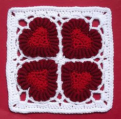 Another cool crochet square with hearts! >> Ravelry: Valentine Hearts pattern by Donna Kay Lacey