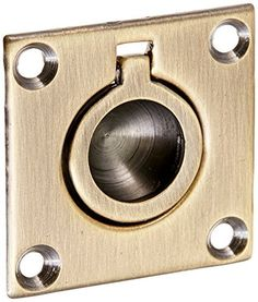 Baldwin 0393050 Flush Ring Pull Antique Brass by Baldwin -- Continue to the product at the image link.