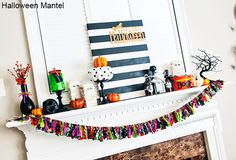Love this Halloween mantel! so many cute halloween crafts