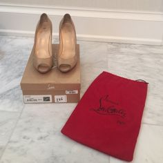 Christian Louboutin Flo 120 Kid Nude Pumps Damaged 100% Auth Christian Louboutin Nude Pumps. Size 39.5 (8.5 equivalent). Purch from Saks. These shoes are loved & show signs of wear to leather inside and outside. They have red rubber soles that I put on for traction. One of the heels has a BROKEN HEEL which I tried to have repaired. The heel did not fix and the leather repair is a little off in color. They may be able to be repaired by the Leather Spa in NYC who deals with Louboutins more…