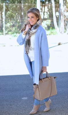 Stylish Winter Outfits, Winter Dress Outfits, Stylish Dresses For Girls, Casual Dress Outfits, Winter Fashion Outfits, Chic Outfits, Trendy Outfits, Light Blue Coat, Business Casual Attire