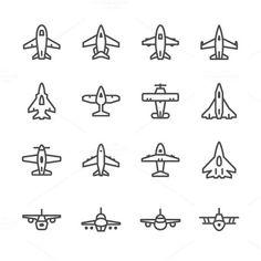 Set line icons of plane. Travel Infographics. $5.00
