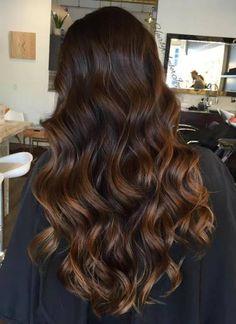 dark brown hair with caramel highlights