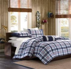 Blue White and Red Plaid Boy Bedding - Plaid Bedding